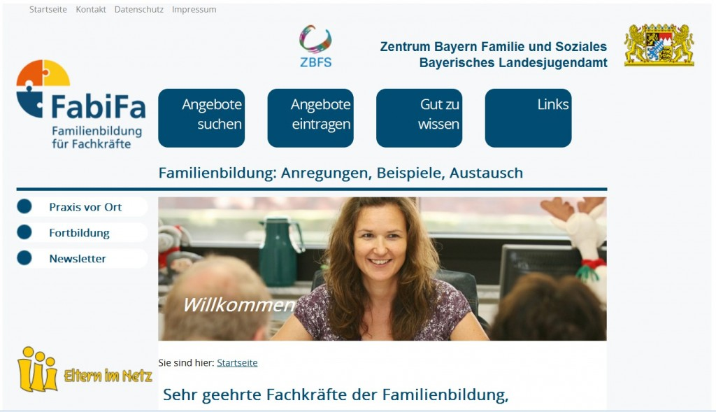 Screenshot Projekt Fachinformation Familienbildung des BLJA